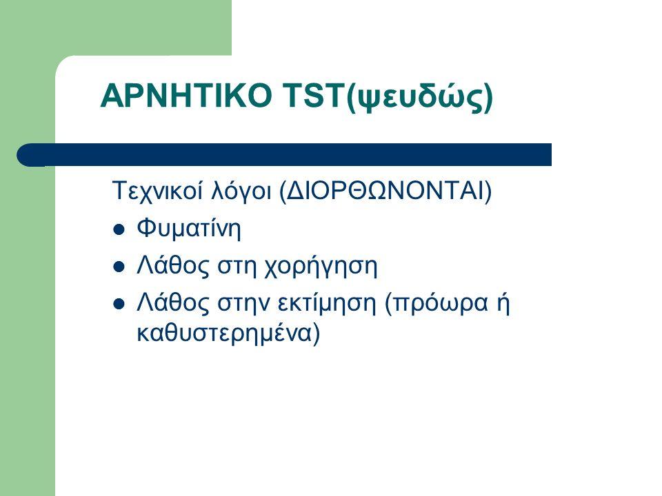 ΑΡΝΗΤΙΚΟ TST(ψευδώς) Τεχνικοί λόγοι (ΔΙΟΡΘΩΝΟΝΤΑΙ) Φυματίνη Λάθος στη χορήγηση Λάθος στην εκτίμηση (πρόωρα ή καθυστερημένα)