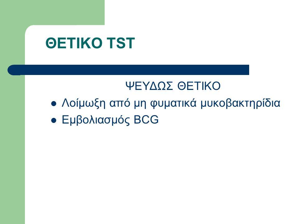 ΘΕΤΙΚΟ TST ΨΕΥΔΩΣ ΘΕΤΙΚΟ Λοίμωξη από μη φυματικά μυκοβακτηρίδια Εμβολιασμός BCG