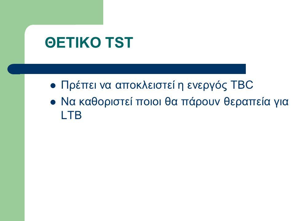 ΘΕΤΙΚΟ TST Πρέπει να αποκλειστεί η ενεργός TBC Να καθοριστεί ποιοι θα πάρουν θεραπεία για LTB