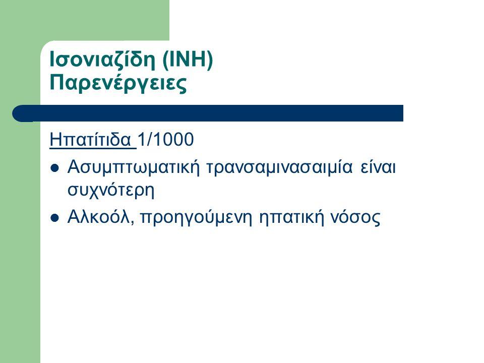 Ισονιαζίδη (INH) Παρενέργειες Ηπατίτιδα 1/1000 Ασυμπτωματική τρανσαμινασαιμία είναι συχνότερη Αλκοόλ, προηγούμενη ηπατική νόσος
