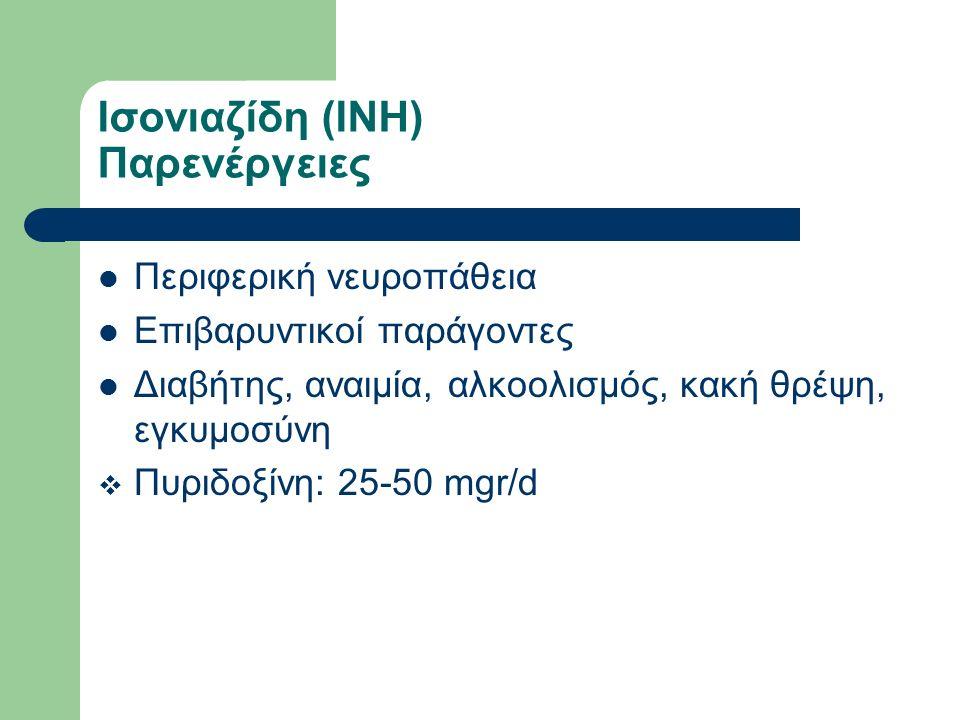 Ισονιαζίδη (ΙΝΗ) Παρενέργειες Περιφερική νευροπάθεια Επιβαρυντικοί παράγοντες Διαβήτης, αναιμία, αλκοολισμός, κακή θρέψη, εγκυμοσύνη  Πυριδοξίνη: 25-50 mgr/d