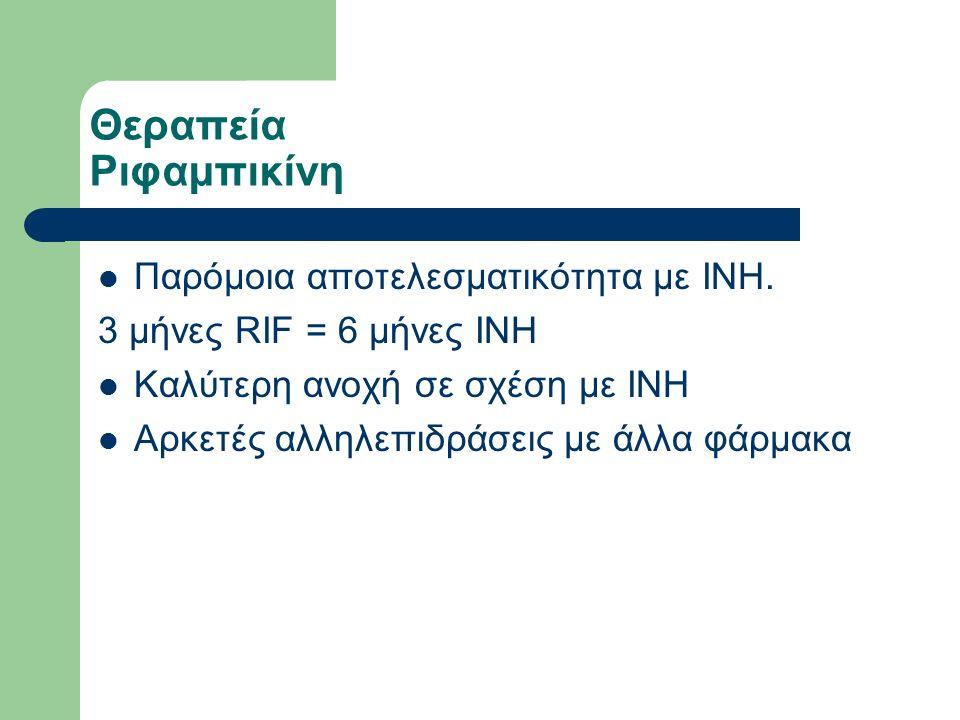 Θεραπεία Ριφαμπικίνη Παρόμοια αποτελεσματικότητα με INH.
