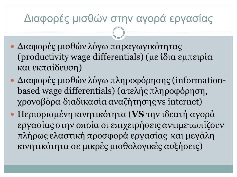 Κινητικότητα εργαζομένων Όταν ένας εργαζόμενος εγκαταλείπει εύκολα τον εργοδότη του και δέχεται τον υψηλότερο μισθό μιας άλλης επιχείρησης, η νέα επιχείρηση τον αντιμετωπίζει με δυσπιστία: Μειωμένη απόδοση Έλλειψη αφοσίωσης στην εργασία Κλονισμένη εργασιακή σχέση Πιθανότητα να εγκαταλείψει τη νέα θέση πριν η απόδοση του καλύψει το κόστος ειδίκευσης