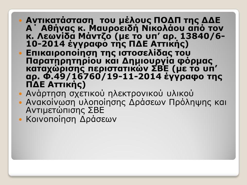 Αντικατάσταση του μέλους ΠΟΔΠ της ΔΔΕ Α΄ Αθήνας κ.