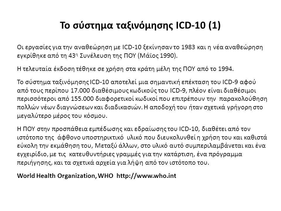 Το σύστημα ταξινόμησης ICD-10 (1) Οι εργασίες για την αναθεώρηση με ICD-10 ξεκίνησαν το 1983 και η νέα αναθεώρηση εγκρίθηκε από τη 43 η Συνέλευση της
