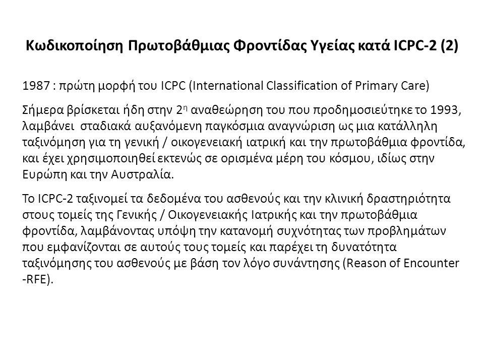 1987 : πρώτη μορφή του ICPC (International Classification of Primary Care) Σήμερα βρίσκεται ήδη στην 2 η αναθεώρηση του που προδημοσιεύτηκε το 1993, λαμβάνει σταδιακά αυξανόμενη παγκόσμια αναγνώριση ως μια κατάλληλη ταξινόμηση για τη γενική / οικογενειακή ιατρική και την πρωτοβάθμια φροντίδα, και έχει χρησιμοποιηθεί εκτενώς σε ορισμένα μέρη του κόσμου, ιδίως στην Ευρώπη και την Αυστραλία.