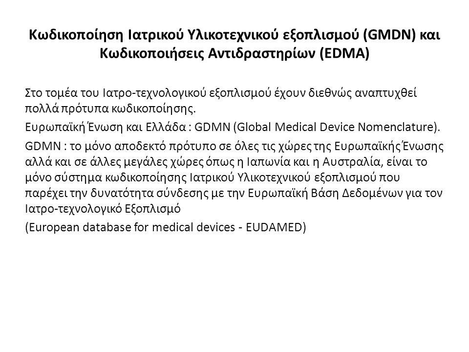 Κωδικοποίηση Ιατρικού Υλικοτεχνικού εξοπλισμού (GMDN) και Κωδικοποιήσεις Αντιδραστηρίων (EDMA) Στο τομέα του Ιατρο-τεχνολογικού εξοπλισμού έχουν διεθνώς αναπτυχθεί πολλά πρότυπα κωδικοποίησης.
