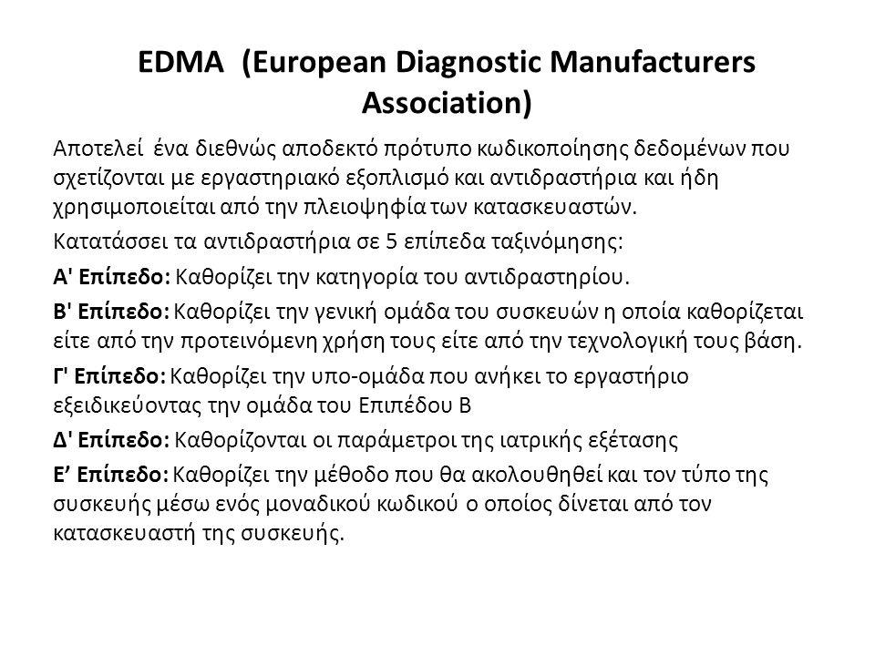 EDMA (European Diagnostic Manufacturers Association) Αποτελεί ένα διεθνώς αποδεκτό πρότυπο κωδικοποίησης δεδομένων που σχετίζονται με εργαστηριακό εξοπλισμό και αντιδραστήρια και ήδη χρησιμοποιείται από την πλειοψηφία των κατασκευαστών.