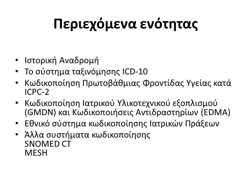 Περιεχόμενα ενότητας Ιστορική Αναδρομή Το σύστημα ταξινόμησης ICD-10 Κωδικοποίηση Πρωτοβάθμιας Φροντίδας Υγείας κατά ICPC-2 Κωδικοποίηση Ιατρικού Υλικοτεχνικού εξοπλισμού (GMDN) και Κωδικοποιήσεις Αντιδραστηρίων (EDMA) Εθνικό σύστημα κωδικοποίησης Ιατρικών Πράξεων Άλλα συστήματα κωδικοποίησης SNOMED CT MESH