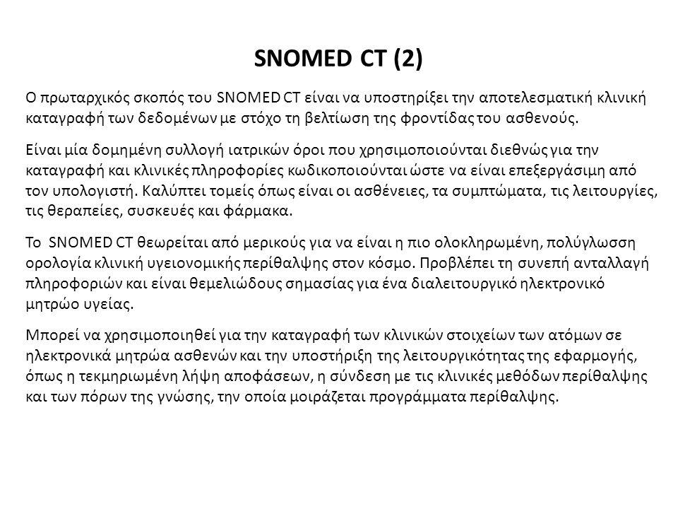 Ο πρωταρχικός σκοπός του SNOMED CT είναι να υποστηρίξει την αποτελεσματική κλινική καταγραφή των δεδομένων με στόχο τη βελτίωση της φροντίδας του ασθε