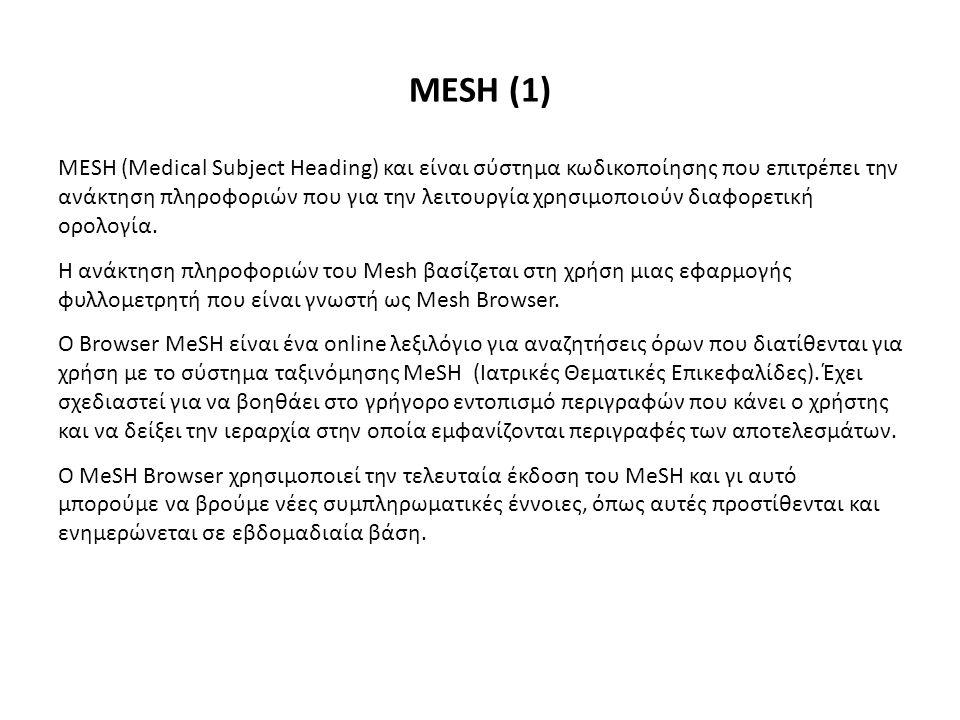 ΜESH (1) MESH (Medical Subject Heading) και είναι σύστημα κωδικοποίησης που επιτρέπει την ανάκτηση πληροφοριών που για την λειτουργία χρησιμοποιούν διαφορετική ορολογία.