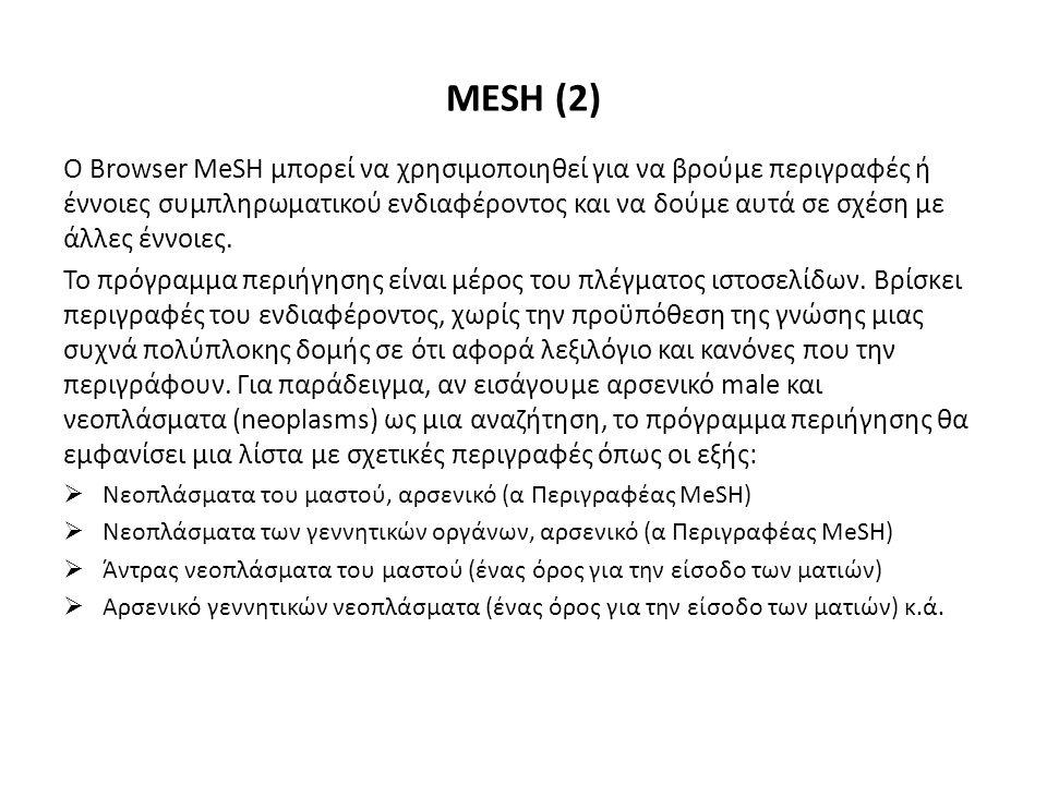 Ο Browser MeSH μπορεί να χρησιμοποιηθεί για να βρούμε περιγραφές ή έννοιες συμπληρωματικού ενδιαφέροντος και να δούμε αυτά σε σχέση με άλλες έννοιες.