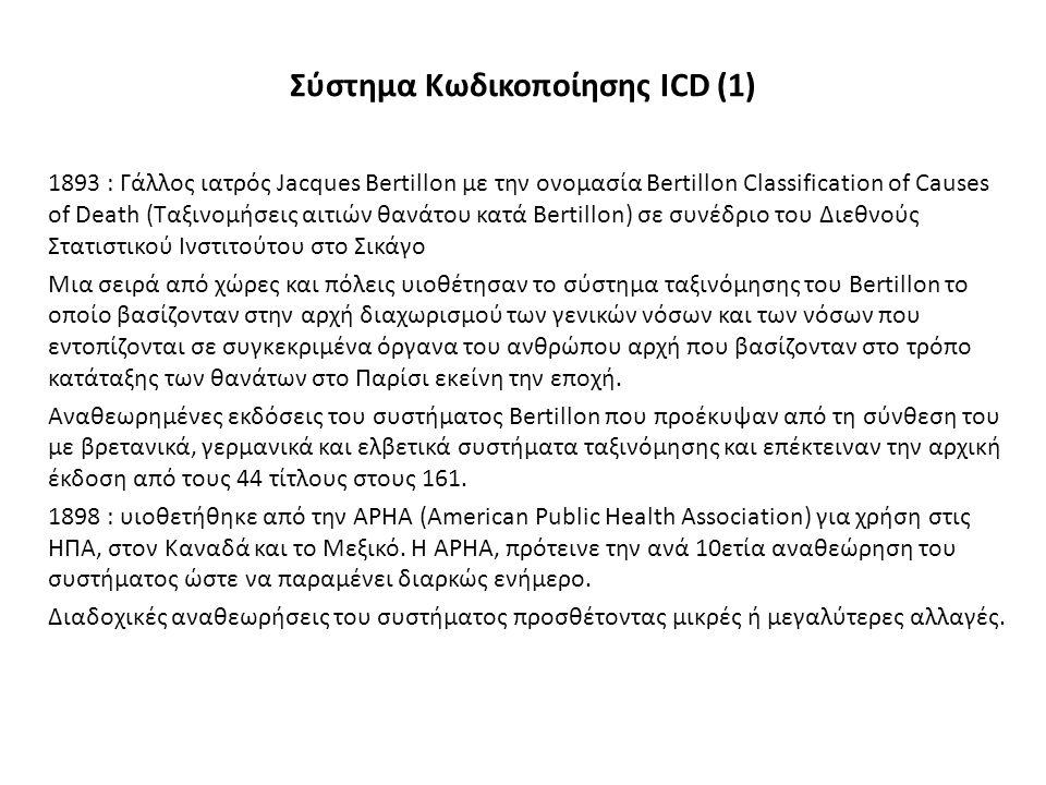 Σύστημα Κωδικοποίησης ICD (1) 1893 : Γάλλος ιατρός Jacques Bertillon με την ονομασία Bertillon Classification of Causes of Death (Ταξινομήσεις αιτιών θανάτου κατά Bertillon) σε συνέδριο του Διεθνούς Στατιστικού Ινστιτούτου στο Σικάγο Μια σειρά από χώρες και πόλεις υιοθέτησαν το σύστημα ταξινόμησης του Bertillon το οποίο βασίζονταν στην αρχή διαχωρισμού των γενικών νόσων και των νόσων που εντοπίζονται σε συγκεκριμένα όργανα του ανθρώπου αρχή που βασίζονταν στο τρόπο κατάταξης των θανάτων στο Παρίσι εκείνη την εποχή.