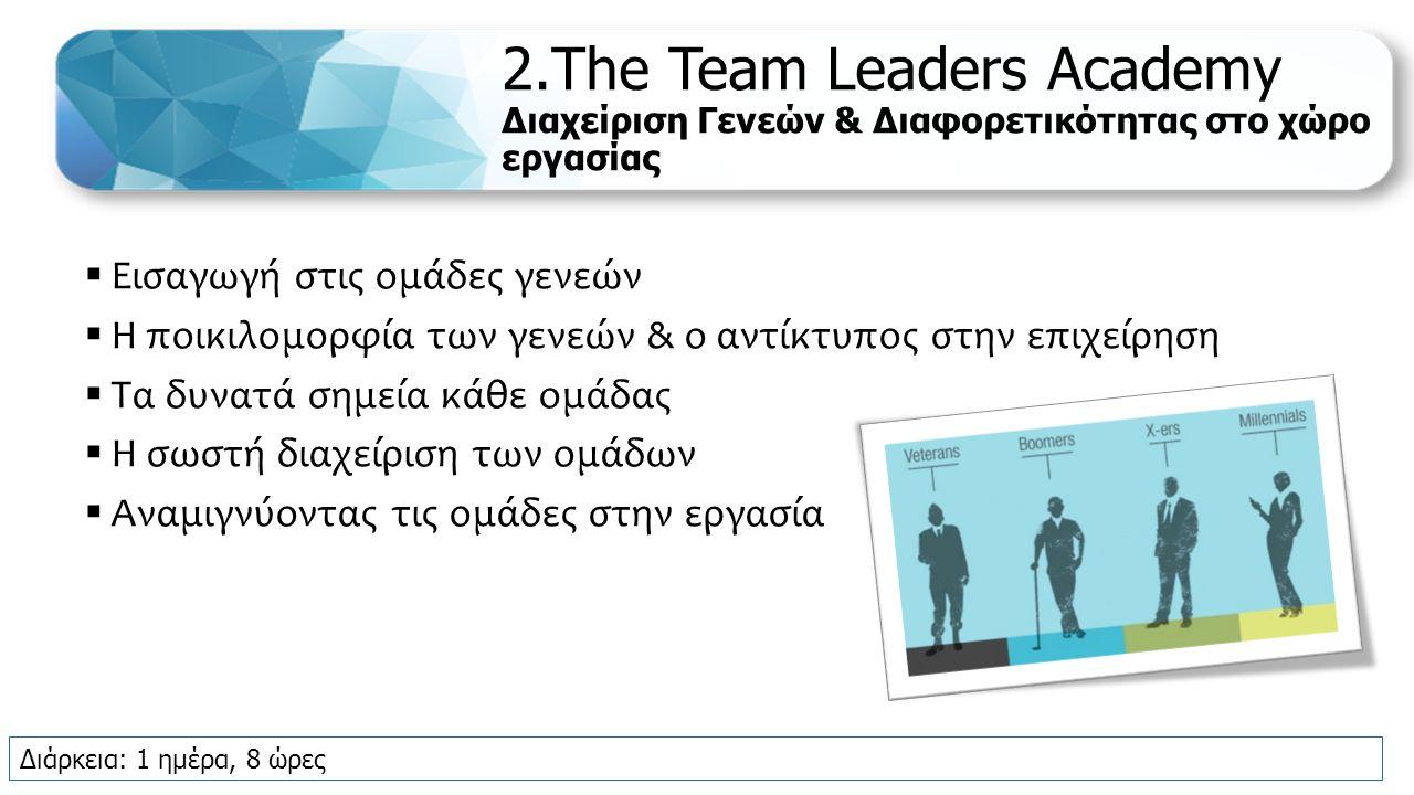 2.The Team Leaders Academy Διαχείριση Γενεών & Διαφορετικότητας στο χώρο εργασίας  Εισαγωγή στις ομάδες γενεών  Η ποικιλομορφία των γενεών & ο αντίκτυπος στην επιχείρηση  Τα δυνατά σημεία κάθε ομάδας  Η σωστή διαχείριση των ομάδων  Αναμιγνύοντας τις ομάδες στην εργασία Διάρκεια: 1 ημέρα, 8 ώρες