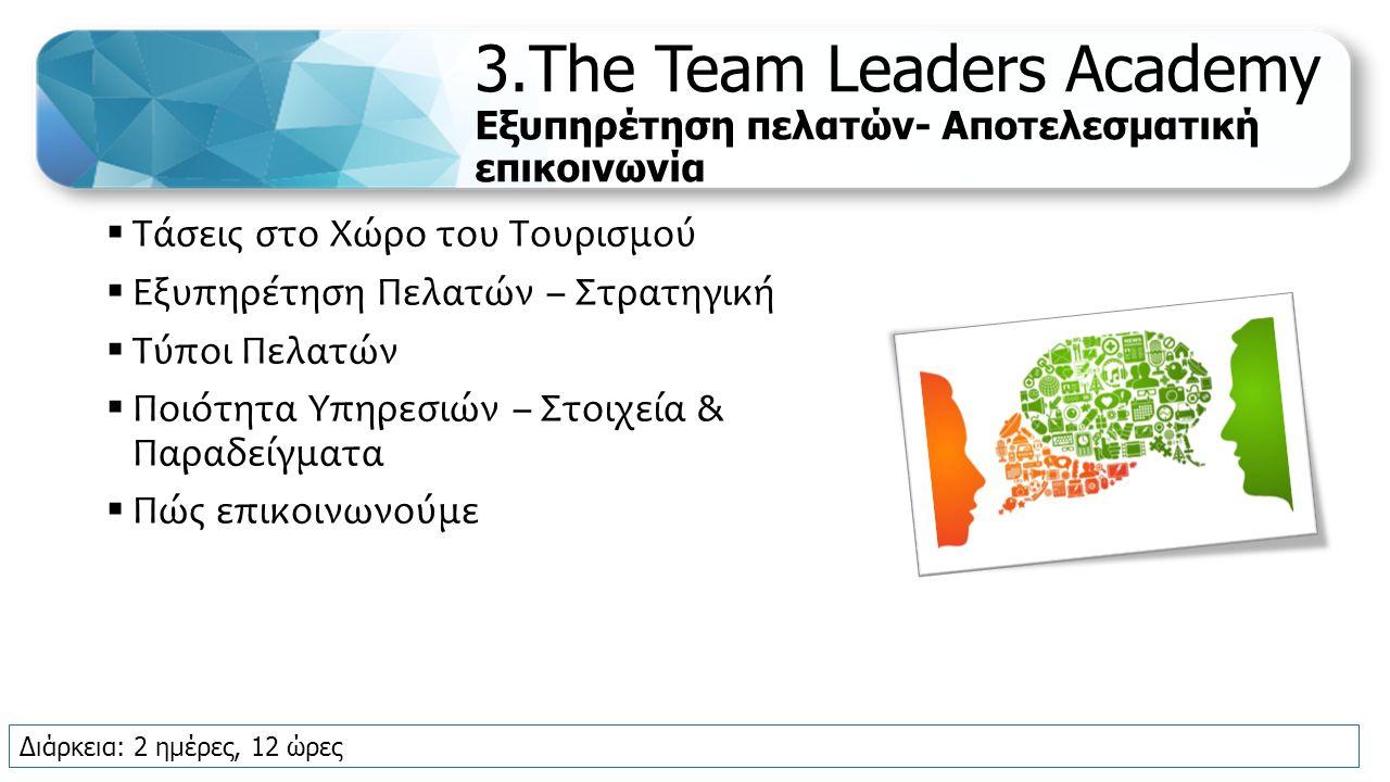 3.The Team Leaders Academy Εξυπηρέτηση πελατών- Αποτελεσματική επικοινωνία  Τάσεις στο Χώρο του Τουρισμού  Εξυπηρέτηση Πελατών – Στρατηγική  Τύποι Πελατών  Ποιότητα Υπηρεσιών – Στοιχεία & Παραδείγματα  Πώς επικοινωνούμε Διάρκεια: 2 ημέρες, 12 ώρες