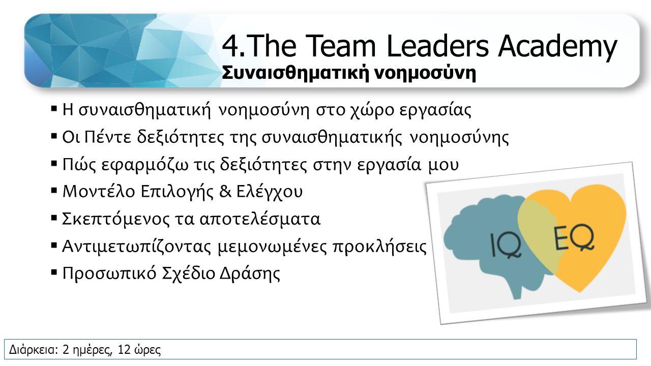 4.The Team Leaders Academy Συναισθηματική νοημοσύνη  Η συναισθηματική νοημοσύνη στο χώρο εργασίας  Οι Πέντε δεξιότητες της συναισθηματικής νοημοσύνης  Πώς εφαρμόζω τις δεξιότητες στην εργασία μου  Μοντέλο Επιλογής & Ελέγχου  Σκεπτόμενος τα αποτελέσματα  Αντιμετωπίζοντας μεμονωμένες προκλήσεις  Προσωπικό Σχέδιο Δράσης Διάρκεια: 2 ημέρες, 12 ώρες