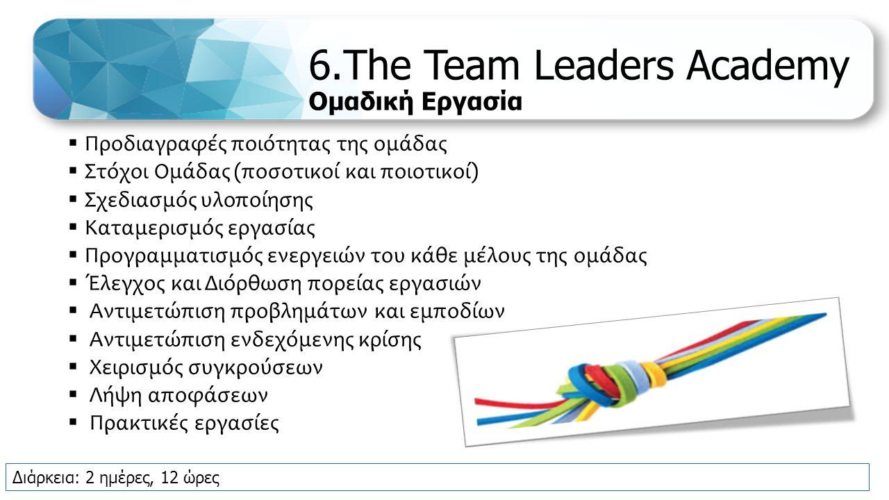 6.The Team Leaders Academy Ομαδική Εργασία  Προδιαγραφές ποιότητας της ομάδας  Στόχοι Ομάδας (ποσοτικοί και ποιοτικοί)  Σχεδιασμός υλοποίησης  Καταμερισμός εργασίας  Προγραμματισμός ενεργειών του κάθε μέλους της ομάδας  Έλεγχος και Διόρθωση πορείας εργασιών  Αντιμετώπιση προβλημάτων και εμποδίων  Αντιμετώπιση ενδεχόμενης κρίσης  Χειρισμός συγκρούσεων  Λήψη αποφάσεων  Πρακτικές εργασίες Διάρκεια: 2 ημέρες, 12 ώρες