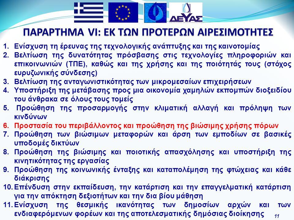 11 1.Ενίσχυση τη έρευνας της τεχνολογικής ανάπτυξης και της καινοτομίας 2.Βελτίωση της δυνατότητας πρόσβασης στις τεχνολογίες πληροφοριών και επικοινωνιών (ΤΠΕ), καθώς και της χρήσης και της ποιότητάς τους (στόχος ευρυζωνικής σύνδεσης) 3.Βελτίωση της ανταγωνιστικότητας των μικρομεσαίων επιχειρήσεων 4.Υποστήριξη της μετάβασης προς μια οικονομία χαμηλών εκπομπών διοξειδίου του άνθρακα σε όλους τους τομείς 5.