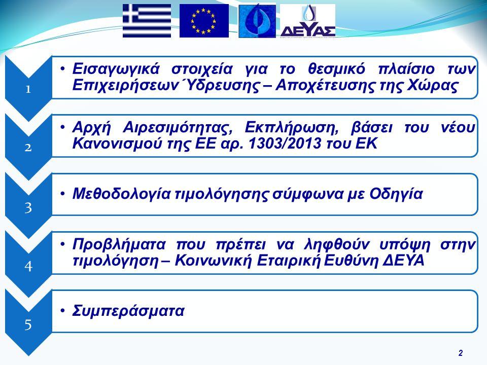 1 Εισαγωγικά στοιχεία για το θεσμικό πλαίσιο των Επιχειρήσεων Ύδρευσης – Αποχέτευσης της Χώρας 2 Αρχή Αιρεσιμότητας, Εκπλήρωση, βάσει του νέου Κανονισμού της ΕΕ αρ.
