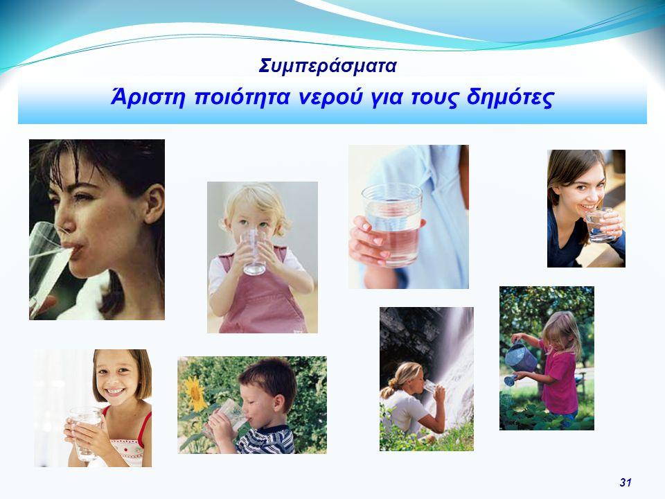 31 Συμπεράσματα Άριστη ποιότητα νερού για τους δημότες