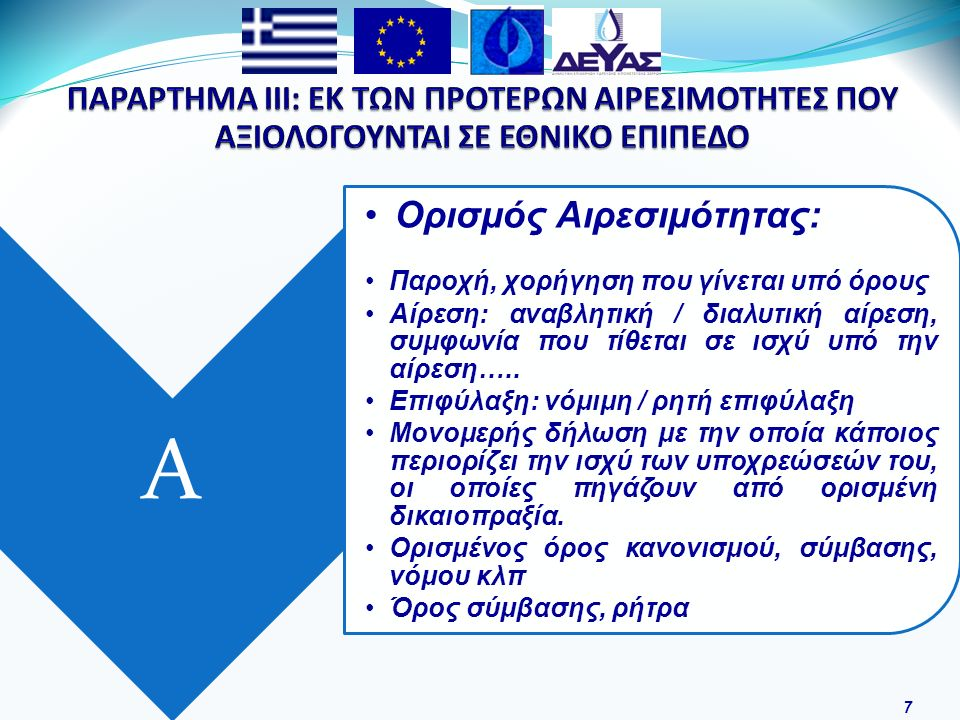28 Εφαρμογή της οδηγίας 2000/60/ΕΚ, αλλά και των Ν.3199/03, ΠΔ 51/07 που αναφέρονται στην εναρμόνιση στο Ελληνικό Δίκαιο Αναπροσαρμογή της τιμής του νερού, όπου θα καλύπτεται τόσο το οικονομικό κόστος λειτουργίας, όσο και το κόστος φυσικών πόρων Δημιουργία ειδικού αποθεματικού για επενδύσεις που θα στοχεύουν στον περιορισμό των απωλειών και στην ανάκτηση του κόστους φυσικών πόρων Ολοκληρωμένη μελέτη τιμολόγησης, ως προς το Οικονομικό Κόστος και το κόστος φυσικών πόρων, σύμφωνα με την Οδηγία 2000/60/ΕΚ Διαρκή έλεγχο συνδέσεων, ώστε να αποφεύγονται παράνομες συνδέσεις, αντικαταστάσεις χαλασμένων και παλαιών υδρομετρητών