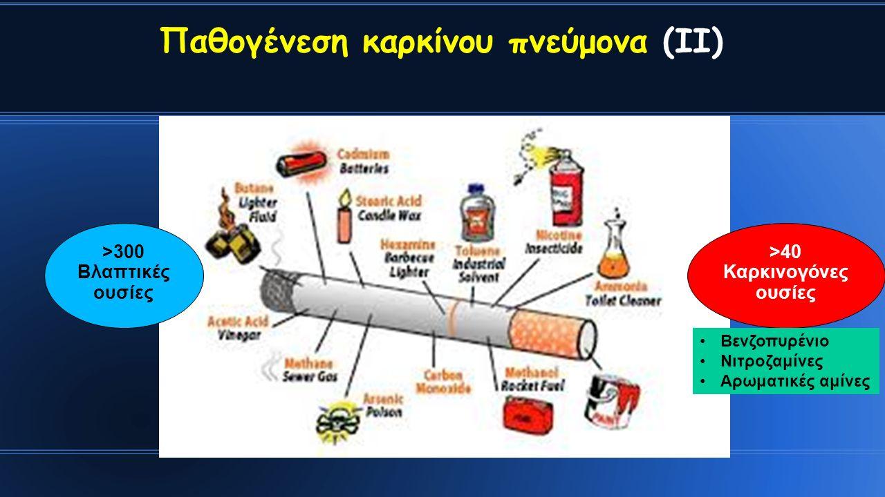 Παθογένεση καρκίνου πνεύμονα (ΙΙ) >300 Βλαπτικές ουσίες >40 Καρκινογόνες ουσίες Βενζοπυρένιο Νιτροζαμίνες Αρωματικές αμίνες