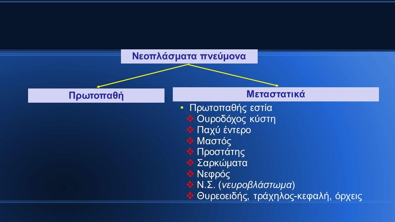 Ιστολογία φυσιολογικού πνεύμονα (Ι) Επιθήλιο  Ψευδοπολύστιβο  Κυλινδρικό  Κροσσωτό  Τραχειοβρογχικό δένδρο Νευροενδοκρινή κύτταρα (Kultschitsky) Καλυκοειδή κύτταρα  Βλεννοπαραγωγά  Τραχειοβρογχικό δένδρο  Λιγότερα σε περιφερικούς αεραγωγούς Κύτταρα Clara  Εκκριτικά, προγονικά  Περισσότερα σε περιφερικούς αεραγωγούς Φλεγμονώδη κύτταρα Τραχειοβρογχικό δένδρο- αεραγωγοί