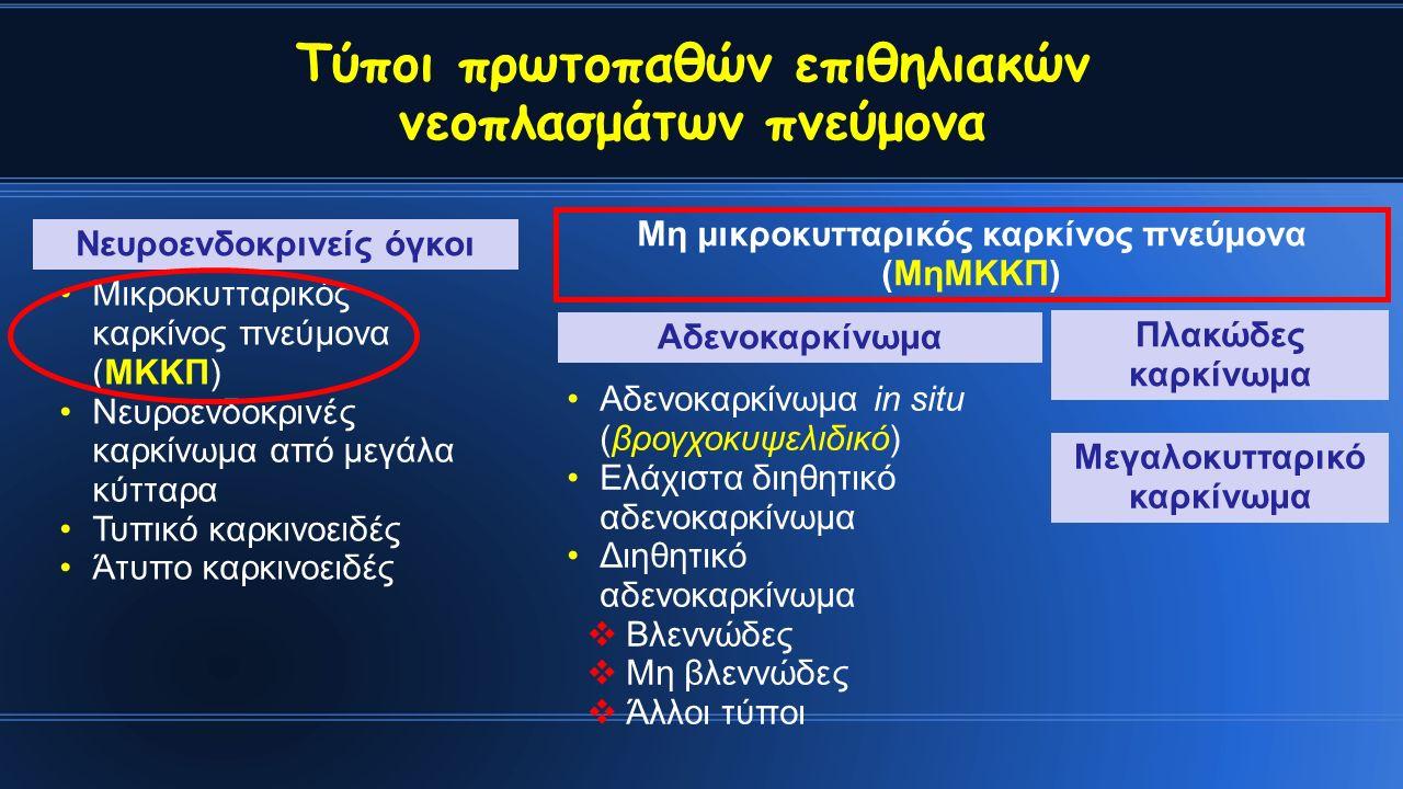 Τύποι πρωτοπαθών επιθηλιακών νεοπλασμάτων πνεύμονα Μικροκυτταρικός καρκίνος πνεύμονα (ΜΚΚΠ) Νευροενδοκρινές καρκίνωμα από μεγάλα κύτταρα Τυπικό καρκινοειδές Άτυπο καρκινοειδές Νευροενδοκρινείς όγκοι Αδενοκαρκίνωμα in situ (βρογχοκυψελιδικό) Ελάχιστα διηθητικό αδενοκαρκίνωμα Διηθητικό αδενοκαρκίνωμα  Βλεννώδες  Μη βλεννώδες  Άλλοι τύποι Αδενοκαρκίνωμα Πλακώδες καρκίνωμα Μη μικροκυτταρικός καρκίνος πνεύμονα (ΜηΜΚΚΠ) Μεγαλοκυτταρικό καρκίνωμα