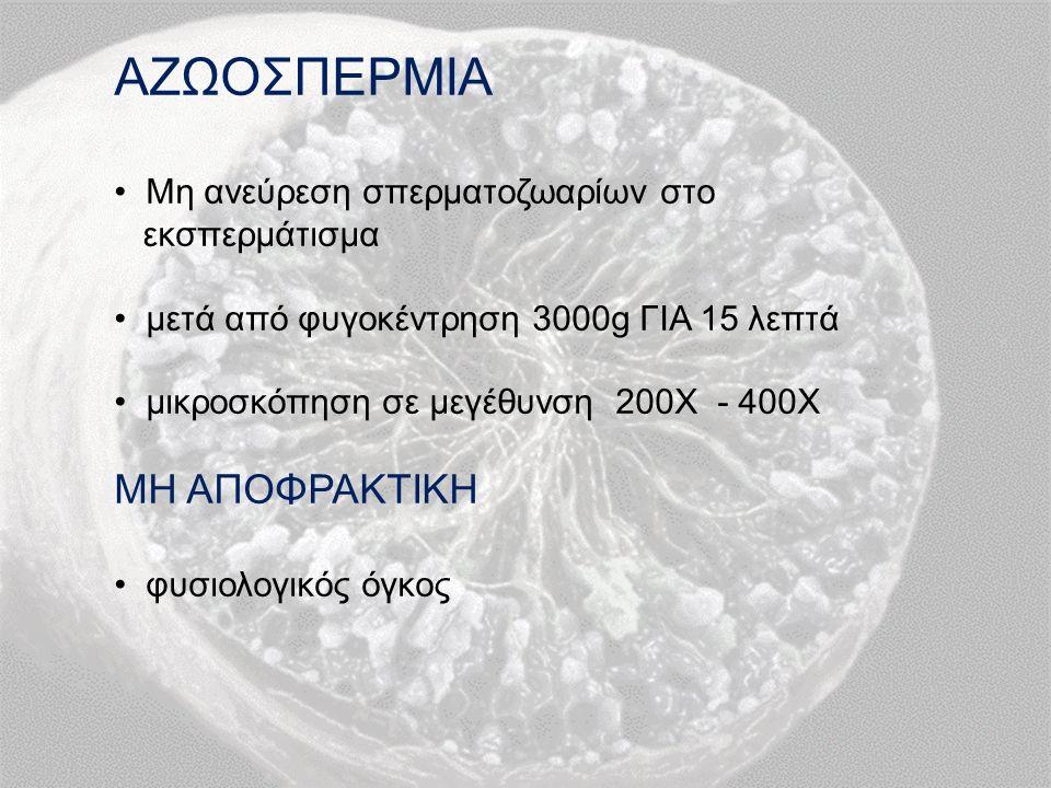 ΑΖΩΟΣΠΕΡΜΙΑ Μη ανεύρεση σπερματοζωαρίων στο εκσπερμάτισμα μετά από φυγοκέντρηση 3000g ΓΙΑ 15 λεπτά μικροσκόπηση σε μεγέθυνση 200Χ - 400Χ ΜΗ ΑΠΟΦΡΑΚΤΙΚΗ φυσιολογικός όγκος