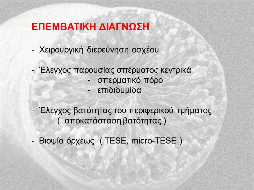 ΕΠΕΜΒΑΤΙΚΗ ΔΙΑΓΝΩΣΗ - Χειρουργική διερεύνηση οσχέου - Έλεγχος παρουσίας σπέρματος κεντρικά - σπερματικό πόρο - επιδιδυμίδα - Έλεγχος βατότητας του περιφερικού τμήματος ( αποκατάσταση βατότητας ) - Βιοψία όρχεως ( TESE, micro-TESE )