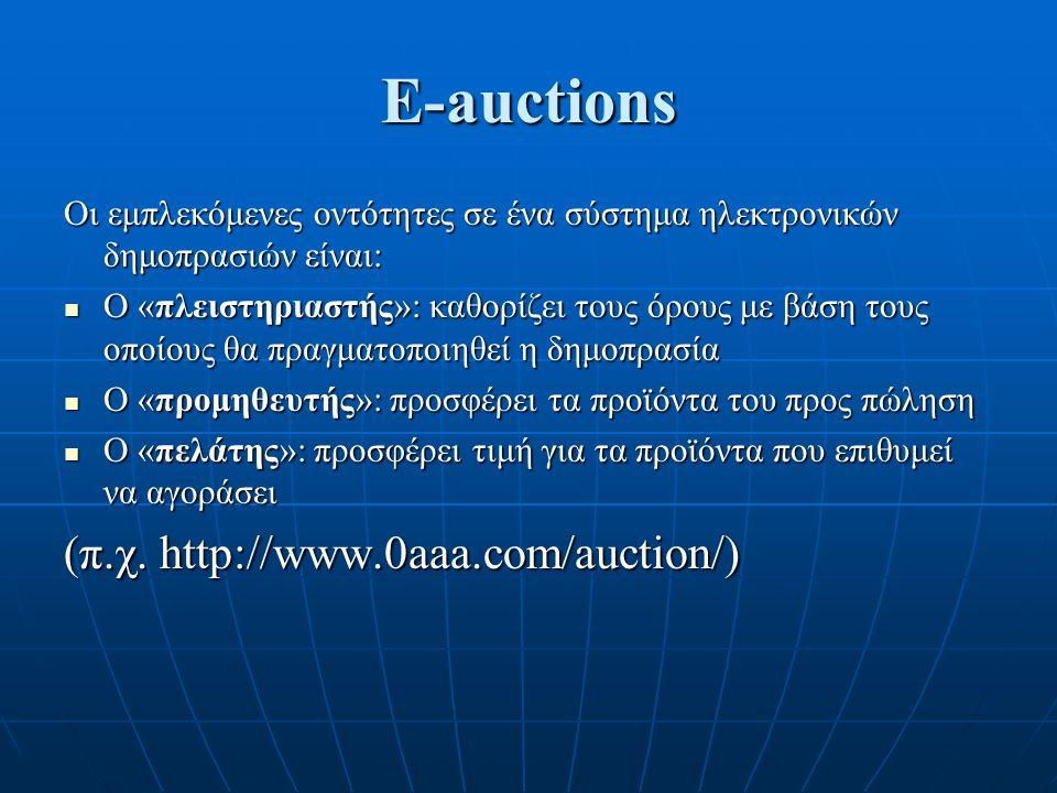 E-auctions Οι εμπλεκόμενες οντότητες σε ένα σύστημα ηλεκτρονικών δημοπρασιών είναι: Ο «πλειστηριαστής»: καθορίζει τους όρους με βάση τους οποίους θα πραγματοποιηθεί η δημοπρασία Ο «πλειστηριαστής»: καθορίζει τους όρους με βάση τους οποίους θα πραγματοποιηθεί η δημοπρασία Ο «προμηθευτής»: προσφέρει τα προϊόντα του προς πώληση Ο «προμηθευτής»: προσφέρει τα προϊόντα του προς πώληση Ο «πελάτης»: προσφέρει τιμή για τα προϊόντα που επιθυμεί να αγοράσει Ο «πελάτης»: προσφέρει τιμή για τα προϊόντα που επιθυμεί να αγοράσει (π.χ.