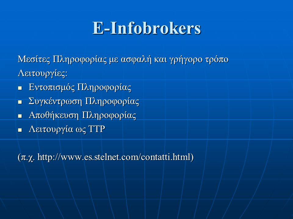 E-Infobrokers Μεσίτες Πληροφορίας με ασφαλή και γρήγορο τρόπο Λειτουργίες: Εντοπισμός Πληροφορίας Εντοπισμός Πληροφορίας Συγκέντρωση Πληροφορίας Συγκέντρωση Πληροφορίας Αποθήκευση Πληροφορίας Αποθήκευση Πληροφορίας Λειτουργία ως TTP Λειτουργία ως TTP (π.χ.