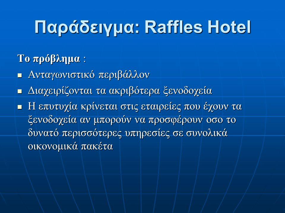 Παράδειγμα: Raffles Hotel Το πρόβλημα : Ανταγωνιστικό περιβάλλον Ανταγωνιστικό περιβάλλον Διαχειρίζονται τα ακριβότερα ξενοδοχεία Διαχειρίζονται τα ακριβότερα ξενοδοχεία Η επυτυχία κρίνεται στις εταιρείες που έχουν τα ξενοδοχεία αν μπορούν να προσφέρουν οσο το δυνατό περισσότερες υπηρεσίες σε συνολικά οικονομικά πακέτα Η επυτυχία κρίνεται στις εταιρείες που έχουν τα ξενοδοχεία αν μπορούν να προσφέρουν οσο το δυνατό περισσότερες υπηρεσίες σε συνολικά οικονομικά πακέτα