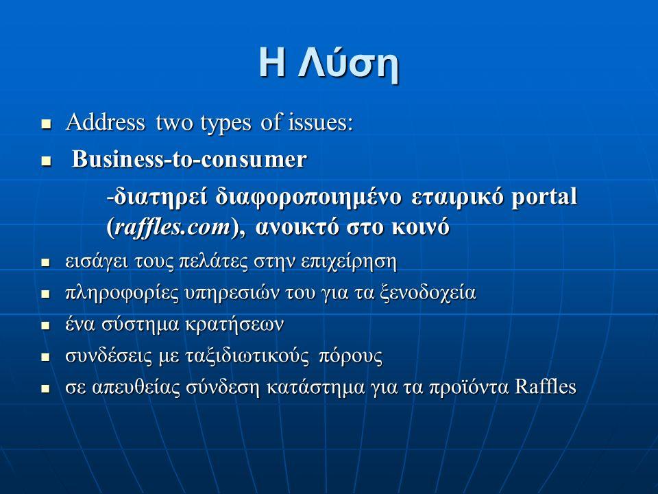Η Λύση Address two types of issues: Address two types of issues: Business-to-consumer Business-to-consumer -διατηρεί διαφοροποιημένο εταιρικό portal (raffles.com), ανοικτό στο κοινό εισάγει τους πελάτες στην επιχείρηση εισάγει τους πελάτες στην επιχείρηση πληροφορίες υπηρεσιών του για τα ξενοδοχεία πληροφορίες υπηρεσιών του για τα ξενοδοχεία ένα σύστημα κρατήσεων ένα σύστημα κρατήσεων συνδέσεις με ταξιδιωτικούς πόρους συνδέσεις με ταξιδιωτικούς πόρους σε απευθείας σύνδεση κατάστημα για τα προϊόντα Raffles σε απευθείας σύνδεση κατάστημα για τα προϊόντα Raffles