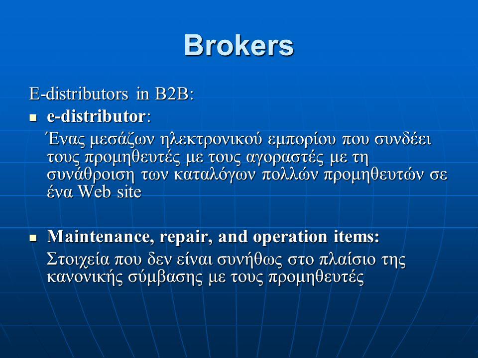 Brokers E-distributors in B2Β: e-distributor: e-distributor: Ένας μεσάζων ηλεκτρονικού εμπορίου που συνδέει τους προμηθευτές με τους αγοραστές με τη συνάθροιση των καταλόγων πολλών προμηθευτών σε ένα Web site Maintenance, repair, and operation items: Maintenance, repair, and operation items: Στοιχεία που δεν είναι συνήθως στο πλαίσιο της κανονικής σύμβασης με τους προμηθευτές