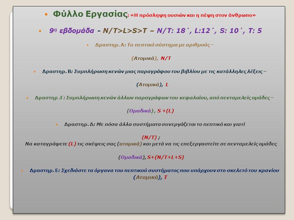 Φύλλο Εργασίας : «Η πρόσληψη ουσιών και η πέψη στον άνθρωπο» 9 η εβδομάδα - Ν/Τ>L>S>T – Ν/Τ: 18΄, L:12΄, S: 10΄, Τ: 5 Δραστηρ. Α: Το πεπτικό σύστημα μ