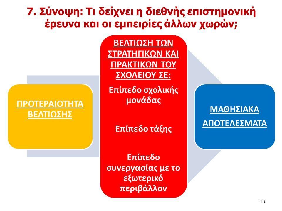 Η κάθε σχολική μονάδα ενθαρρύνεται: 1.να επικεντρωθεί σε μια σημαντική μαθησιακή προτεραιότητα 2.να δώσει έμφαση σε συγκεκριμένες διαστάσεις του σχολείου και τάξης που θα επιδράσουν θετικά στη βελτίωση των μαθησιακών αποτελεσμάτων και 3.να επιλέξει η ίδια όσες εισηγήσεις θεωρεί τις πιο κατάλληλες, για να προωθήσει τον υπό έμφαση στόχο.
