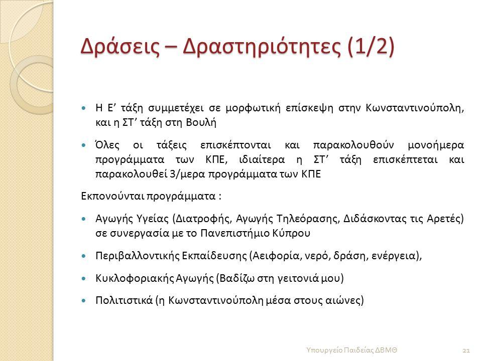 Δράσεις – Δραστηριότητες (1/2) Η Ε' τάξη συμμετέχει σε μορφωτική επίσκεψη στην Κωνσταντινούπολη, και η ΣΤ' τάξη στη Βουλή Όλες οι τάξεις επισκέπτονται και παρακολουθούν μονοήμερα προγράμματα των ΚΠΕ, ιδιαίτερα η ΣΤ' τάξη επισκέπτεται και παρακολουθεί 3/μερα προγράμματα των ΚΠΕ Εκπονούνται προγράμματα : Αγωγής Υγείας (Διατροφής, Αγωγής Τηλεόρασης, Διδάσκοντας τις Αρετές) σε συνεργασία με το Πανεπιστήμιο Κύπρου Περιβαλλοντικής Εκπαίδευσης (Αειφορία, νερό, δράση, ενέργεια), Κυκλοφοριακής Αγωγής (Βαδίζω στη γειτονιά μου) Πολιτιστικά (η Κωνσταντινούπολη μέσα στους αιώνες) 21 Υπουργείο Παιδείας ΔΒΜΘ