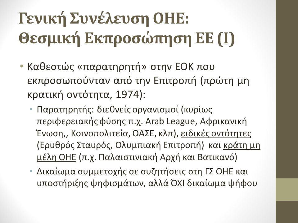 Γενική Συνέλευση ΟΗΕ: Θεσμική Εκπροσώπηση ΕΕ (Ι) Καθεστώς «παρατηρητή» στην ΕΟΚ που εκπροσωπούνταν από την Επιτροπή (πρώτη μη κρατική οντότητα, 1974): Παρατηρητής: διεθνείς οργανισμοί (κυρίως περιφερειακής φύσης π.χ.