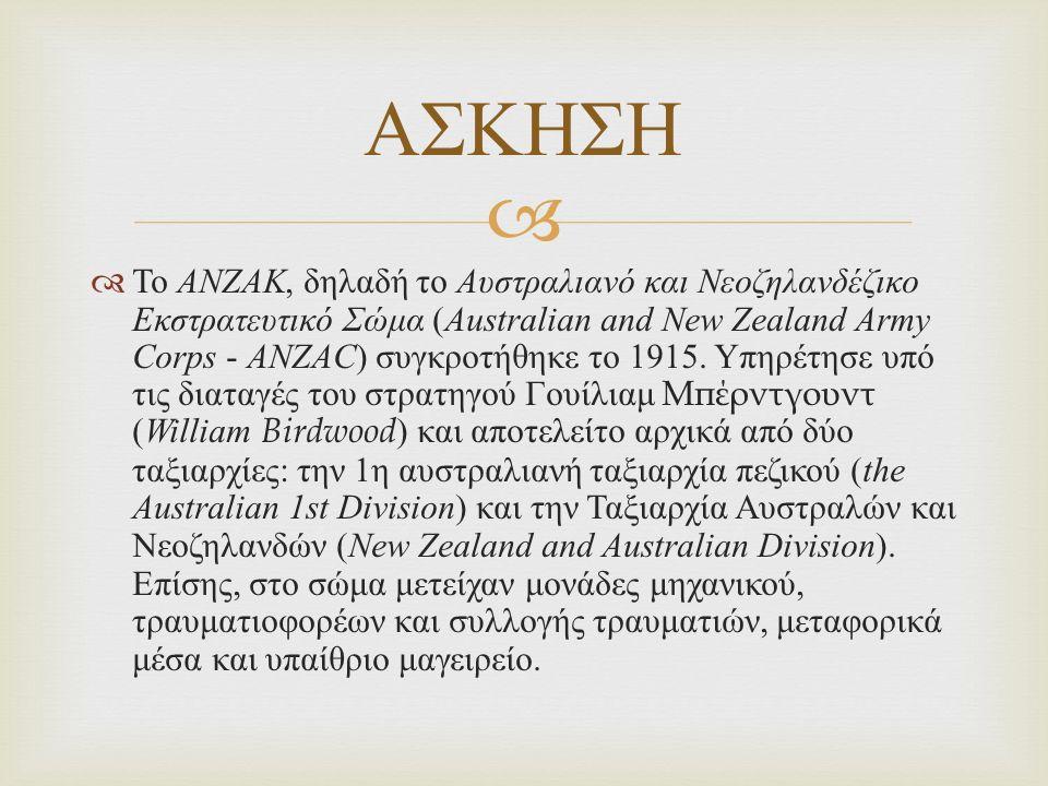   Το ΑΝΖΑΚ, δηλαδή το Αυστραλιανό και Νεοζηλανδέζικο Εκστρατευτικό Σώμα ( Australian and New Zealand Army Corps - ANZAC ) συγκροτήθηκε το 1915.