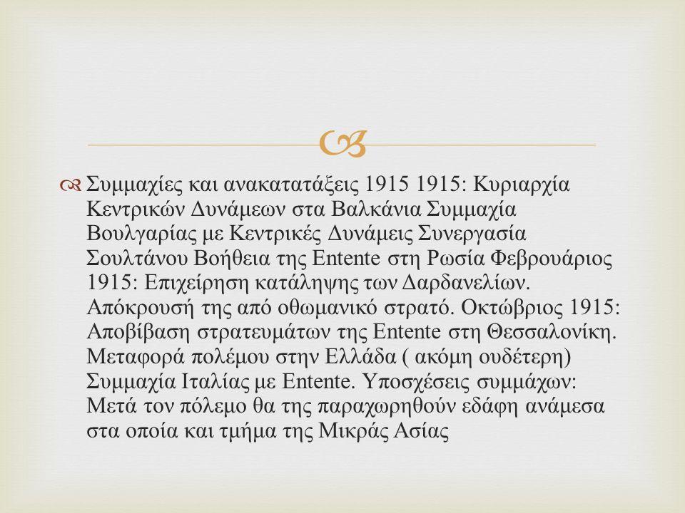   Συμμαχίες και ανακατατάξεις 1915 1915: Κυριαρχία Κεντρικών Δυνάμεων στα Βαλκάνια Συμμαχία Βουλγαρίας με Κεντρικές Δυνάμεις Συνεργασία Σουλτάνου Βοήθεια της Entente στη Ρωσία Φεβρουάριος 1915: Επιχείρηση κατάληψης των Δαρδανελίων.