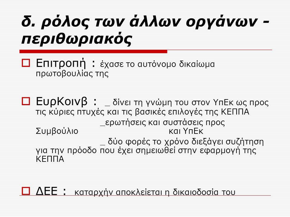 δ. ρόλος των άλλων οργάνων - περιθωριακός  Επιτροπή : έχασε το αυτόνομο δικαίωμα πρωτοβουλίας της  ΕυρΚοινβ : _ δίνει τη γνώμη του στον ΥπΕκ ως προς