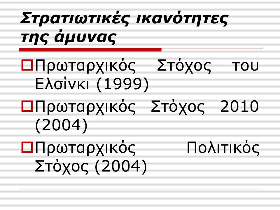 Στρατιωτικές ικανότητες της άμυνας  Πρωταρχικός Στόχος του Ελσίνκι (1999)  Πρωταρχικός Στόχος 2010 (2004)  Πρωταρχικός Πολιτικός Στόχος (2004)