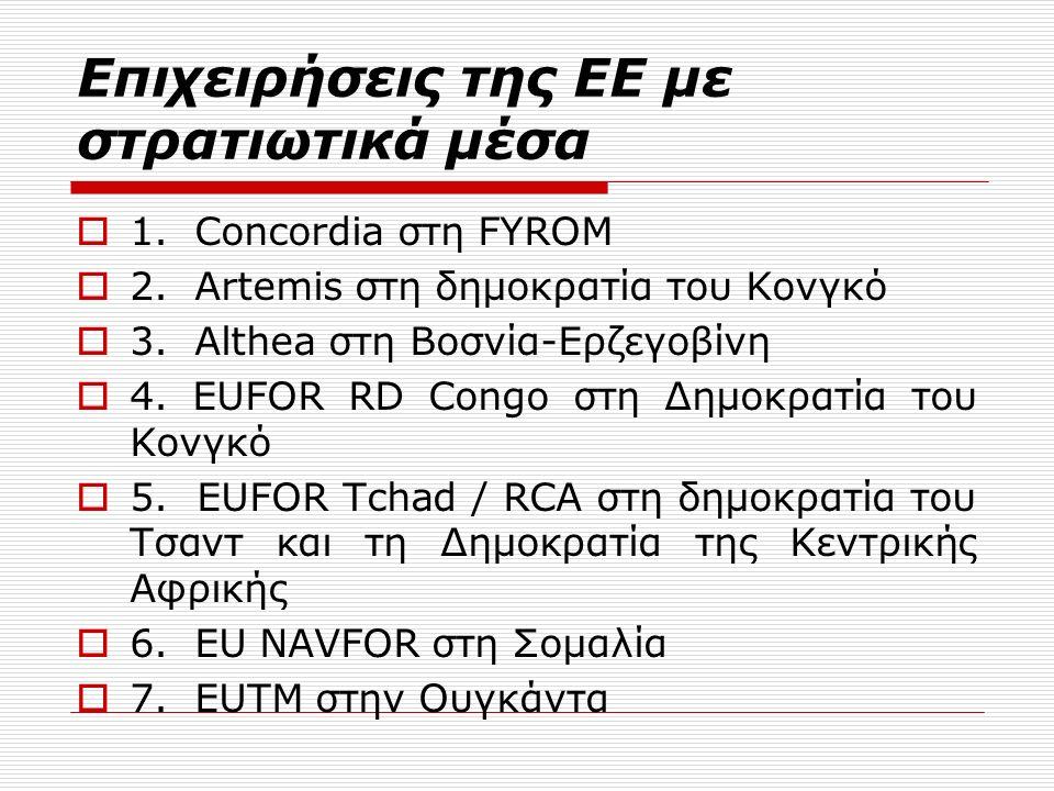 Επιχειρήσεις της ΕΕ με στρατιωτικά μέσα  1. Concordia στη FYROM  2.