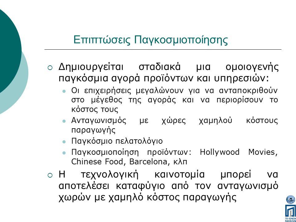 Επιπτώσεις Παγκοσμιοποίησης  Δημιουργείται σταδιακά μια ομοιογενής παγκόσμια αγορά προϊόντων και υπηρεσιών: Οι επιχειρήσεις μεγαλώνουν για να ανταποκριθούν στο μέγεθος της αγοράς και να περιορίσουν το κόστος τους Ανταγωνισμός με χώρες χαμηλού κόστους παραγωγής Παγκόσμιο πελατολόγιο Παγκοσμιοποίηση προϊόντων: Hollywood Movies, Chinese Food, Barcelona, κλπ  Η τεχνολογική καινοτομία μπορεί να αποτελέσει καταφύγιο από τον ανταγωνισμό χωρών με χαμηλό κόστος παραγωγής