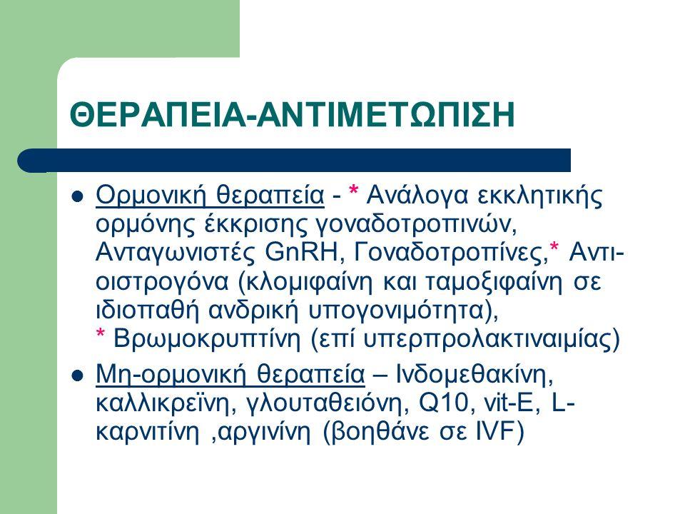 ΘΕΡΑΠΕΙΑ-ΑΝΤΙΜΕΤΩΠΙΣΗ Ορμονική θεραπεία - * Ανάλογα εκκλητικής ορμόνης έκκρισης γοναδοτροπινών, Ανταγωνιστές GnRH, Γοναδοτροπίνες,* Αντι- οιστρογόνα (κλομιφαίνη και ταμοξιφαίνη σε ιδιοπαθή ανδρική υπογονιμότητα), * Βρωμοκρυπτίνη (επί υπερπρολακτιναιμίας) Μη-ορμονική θεραπεία – Ινδομεθακίνη, καλλικρεϊνη, γλουταθειόνη, Q10, vit-E, L- καρνιτίνη,αργινίνη (βοηθάνε σε IVF)