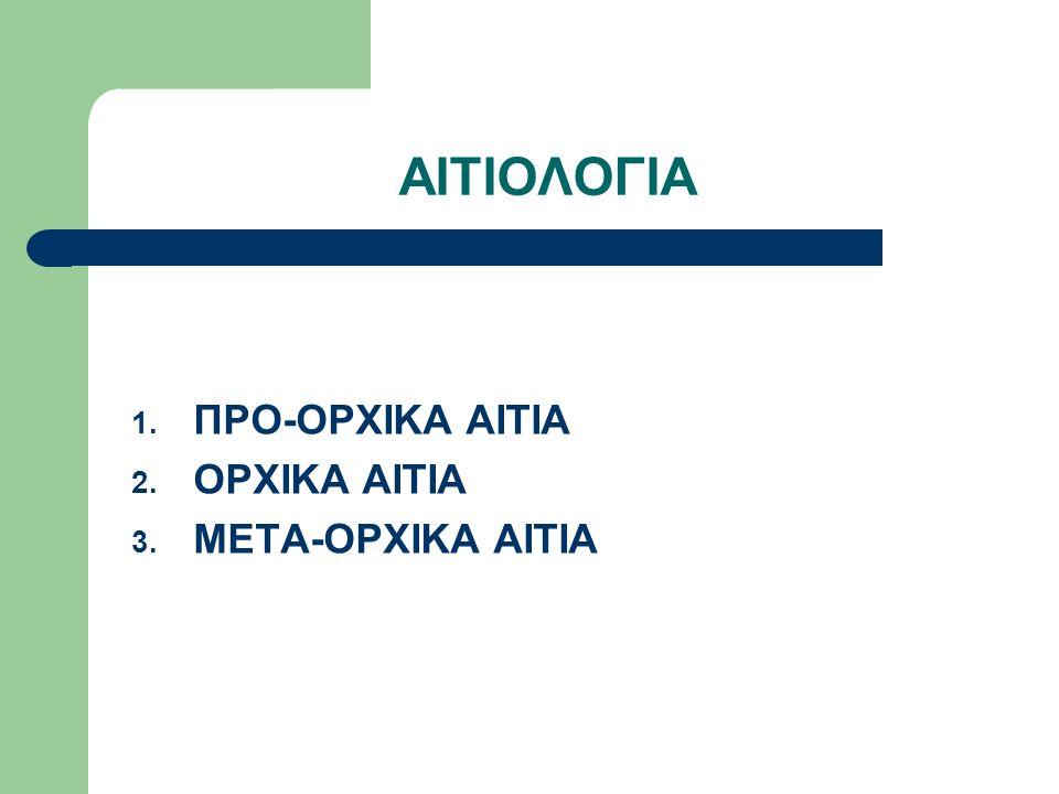 ΑΙΤΙΟΛΟΓΙΑ 1. ΠΡΟ-ΟΡΧΙΚΑ ΑΙΤΙΑ 2. ΟΡΧΙΚΑ ΑΙΤΙΑ 3. ΜΕΤΑ-ΟΡΧΙΚΑ ΑΙΤΙΑ