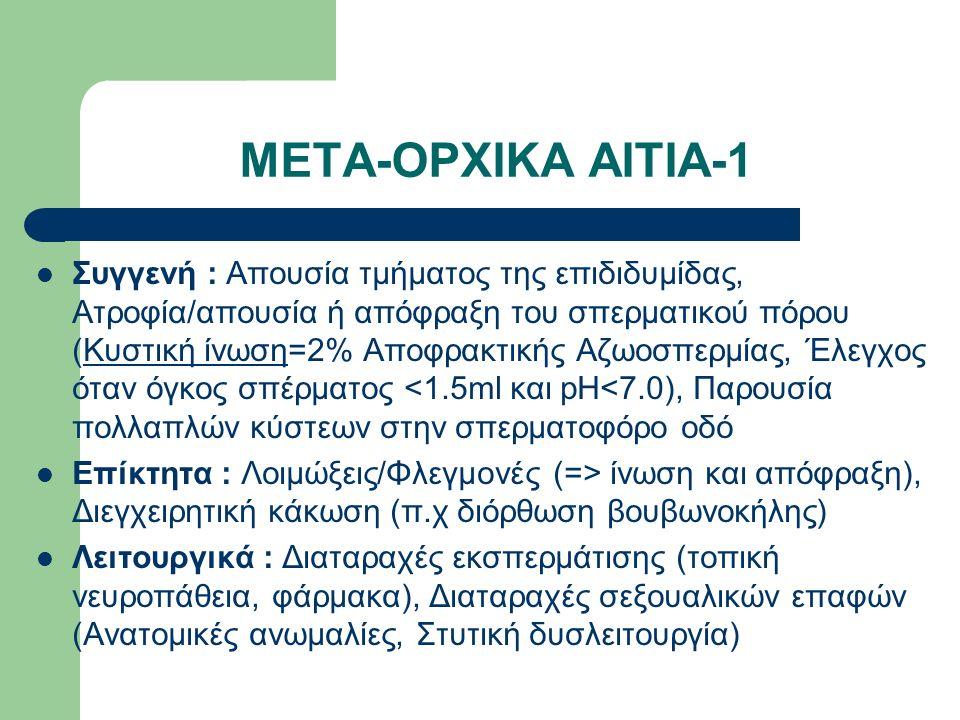 ΜΕΤΑ-ΟΡΧΙΚΑ ΑΙΤΙΑ-1 Συγγενή : Απουσία τμήματος της επιδιδυμίδας, Ατροφία/απουσία ή απόφραξη του σπερματικού πόρου (Κυστική ίνωση=2% Αποφρακτικής Αζωοσπερμίας, Έλεγχος όταν όγκος σπέρματος <1.5ml και pH<7.0), Παρουσία πολλαπλών κύστεων στην σπερματοφόρο οδό Επίκτητα : Λοιμώξεις/Φλεγμονές (=> ίνωση και απόφραξη), Διεγχειρητική κάκωση (π.χ διόρθωση βουβωνοκήλης) Λειτουργικά : Διαταραχές εκσπερμάτισης (τοπική νευροπάθεια, φάρμακα), Διαταραχές σεξουαλικών επαφών (Ανατομικές ανωμαλίες, Στυτική δυσλειτουργία)