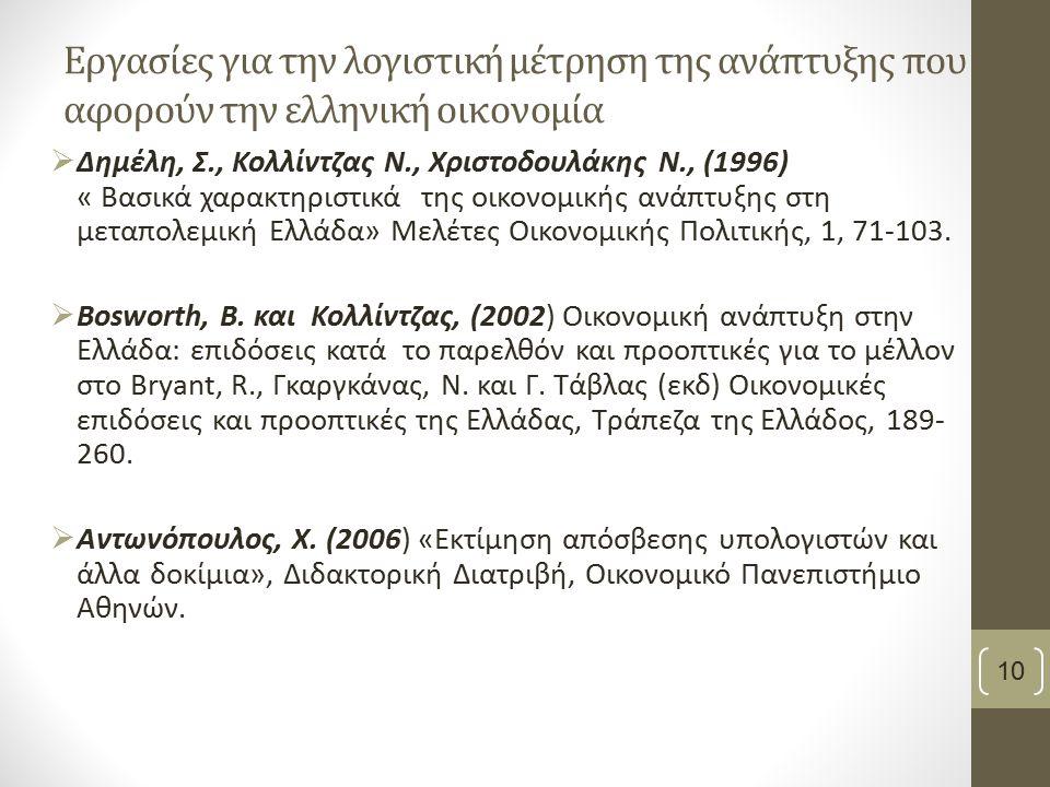 Εργασίες για την λογιστική μέτρηση της ανάπτυξης που αφορούν την ελληνική οικονομία  Δημέλη, Σ., Κολλίντζας Ν., Χριστοδουλάκης Ν., (1996) « Βασικά χαρακτηριστικά της οικονομικής ανάπτυξης στη μεταπολεμική Ελλάδα» Μελέτες Οικονομικής Πολιτικής, 1, 71-103.