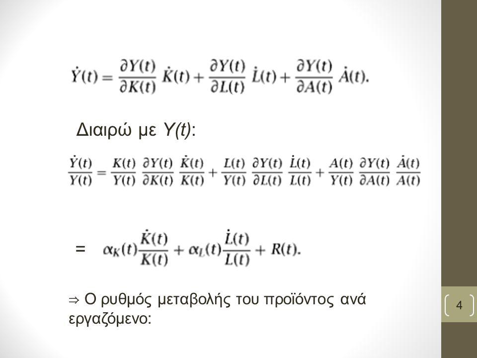 ⇒ O ρυθμός μεταβολής του προϊόντος ανά εργαζόμενο: Διαιρώ με Υ(t): = 4